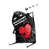 Cartoon fun amasing character scribble love with red heart inside. Stock Photos