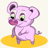 Cartoon. Fun animal. Cartoon vector Illustration of cute funny  pink pig Stock Photo