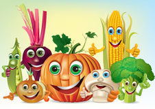 Cartoon fun company of vegetables Stock Photo