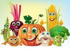 Cartoon fun company of vegetables Stock Photo
