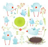 Cartoon Fun and Cute Baby Birds Collection Royalty Free Stock Photo
