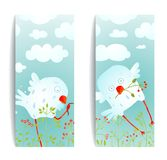 Cartoon Fun and Cute Baby Birds Flyer Design Royalty Free Stock Photos