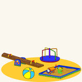 Cartoon. Fun playground. Cartoon vector Illustration of playground equipment Stock Images
