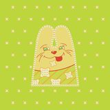 Cartoon  fun rabbit. On green background Stock Photography