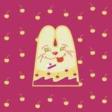 Cartoon  fun rabbit. On cherry background Stock Photos