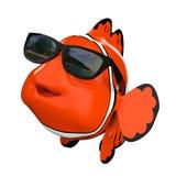 Cartoon Fun Red Sea Clownfish with Sunglasses. 3d Rendering Stock Photo