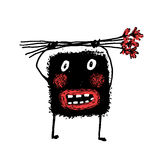 Cartoon Fun Ugly Amazing Whimsical Scribble Sketchy Monster Holding Flowers Stock Image