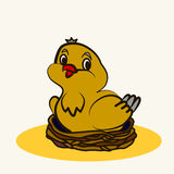 Cartoon. Fun zoo. Cartoon vector Illustration of cute bird on nest Royalty Free Stock Photos