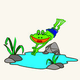Cartoon. Fun zoo. Cartoon vector Illustration of cute frog Royalty Free Stock Images