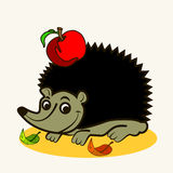 Cartoon. Fun zoo. Cartoon vector Illustration of cute hedgehog with apple Royalty Free Stock Photo