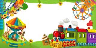 Cartoon funfair locomotive - playground - frame for misc usage Royalty Free Stock Photos