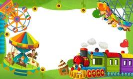 Cartoon funfair locomotive - playground - frame for misc usage Stock Image