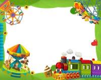 Cartoon funfair locomotive - playground - frame for misc usage Royalty Free Stock Image
