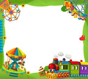 Cartoon funfair locomotive - playground - frame for misc usage Royalty Free Stock Images