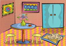 Cartoon funky room with cat. Illustration Royalty Free Stock Image
