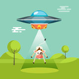 Cartoon funny aliens spaceship abducts the cow Stock Images