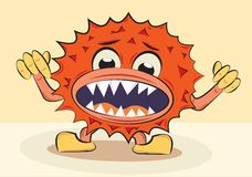 Cartoon funny angry bacillus Stock Image
