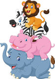 Cartoon funny animal standing on top of each other Royalty Free Stock Photos