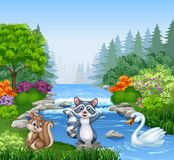 Cartoon funny animals in Beautiful river in forest Stock Photos