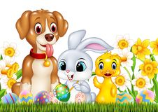 Cartoon funny animals and Easter eggs on green grass vector illustration