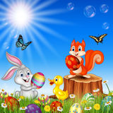 Cartoon Funny Animals With Nature Easter Background Royalty Free Stock Images