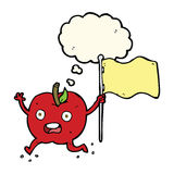 cartoon funny apple with flag with thought bubble Stock Photography