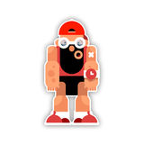 Cartoon funny athlete with a beard. Vector illustration isolated Royalty Free Stock Images