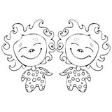 Cartoon funny babes twins for coloring book isolated on white background, vector black and white hand drawing, monochrome Royalty Free Stock Images