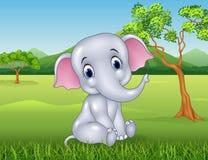 Cartoon funny baby elephant in the jungle Stock Photos