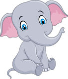Cartoon funny baby elephant sitting isolated on white background Stock Photos