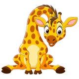 Cartoon Funny Baby Giraffe Sitting Stock Image