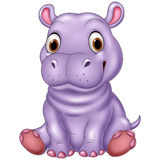 Cartoon funny baby hippo sitting Royalty Free Stock Photos