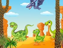 Cartoon funny baby tyrannosaurus hatching with Volcano background Stock Image