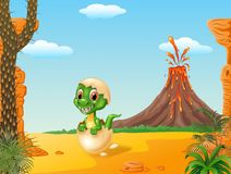 Cartoon funny baby tyrannosaurus hatching with Volcano background Royalty Free Stock Photography