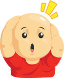 Cartoon of Funny Bald Kid. A vector image of a boy holding his bald head in funny way. Drawn in cartoon style, this vector is very good for design that need kid Royalty Free Stock Image