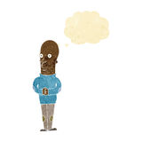 Cartoon funny bald man with thought bubble Royalty Free Stock Image