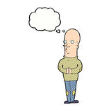 Cartoon funny bald man with thought bubble Royalty Free Stock Photo