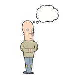 Cartoon funny bald man with thought bubble Royalty Free Stock Images