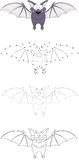 Cartoon funny bat. Dot to dot game for kids Royalty Free Stock Images