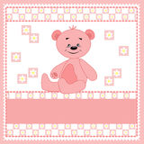 Cartoon funny bear. Pink. Stock Photos