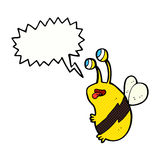 Cartoon funny bee with speech bubble Royalty Free Stock Images