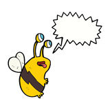 Cartoon funny bee with speech bubble Stock Images