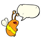 Cartoon funny bee with speech bubble Royalty Free Stock Image