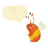 Cartoon funny bee with speech bubble Stock Image