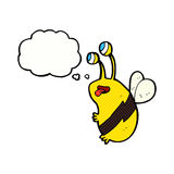 Cartoon funny bee with thought bubble Royalty Free Stock Images