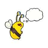 Cartoon funny bee with thought bubble Royalty Free Stock Photo