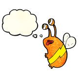 Cartoon funny bee with thought bubble Stock Image