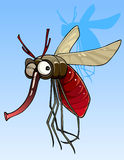 Cartoon funny big mosquito. Winks Royalty Free Stock Photos