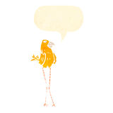 Cartoon funny bird with long legs Stock Photography