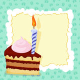 Cartoon funny  Birthday cake card. Vector illustration Royalty Free Stock Photo